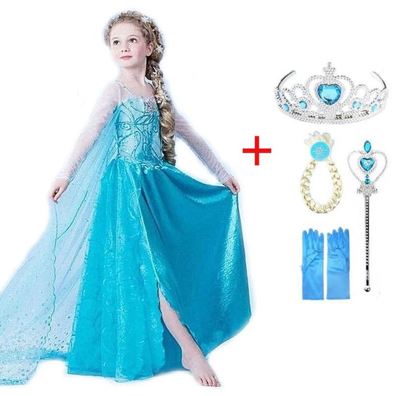 2019 New Elsa Dress Girls Party Vestidos Cosplay Girl Clothing Anna Snow Queen Print Birthday Princess Dress Kids Costume