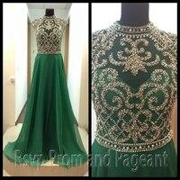 Charming Emerald Xanh Evening Dresses 2017 Cao Cổ Cap Sleeve Beaded Top Floor Chiều Dài Dài Voan Evening Gown Dress