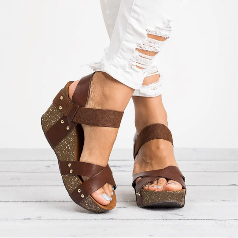 Women Elastic Band Gladiator Metal Wedge Platform Summer Sandals Plus Size Female Casual High Heel Clogs Shoes For Ladies khtaa female casual vintage wedge women open toe slingback gladiator sandals ladies elastic band platform summer shoes plus size