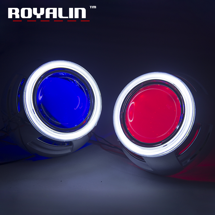 ROYALIN 3.0 Metal Bi Xenon Lens with LED COB Angel Eyes 95mm Demon Car Styling Projector Lens for H1 H4 H7 Auto White Red Blue royalin car styling hid h1 bi xenon headlight projector lens 3 0 inch full metal w 360 devil eyes red blue for h4 h7 auto light