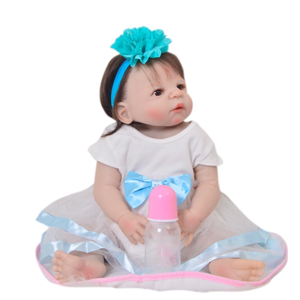 KEIUMI 23 Full Silicone Vinyl Reborn Baby Girl Dolls Realistic Baby Dolls Fiber Hair bebe Alive