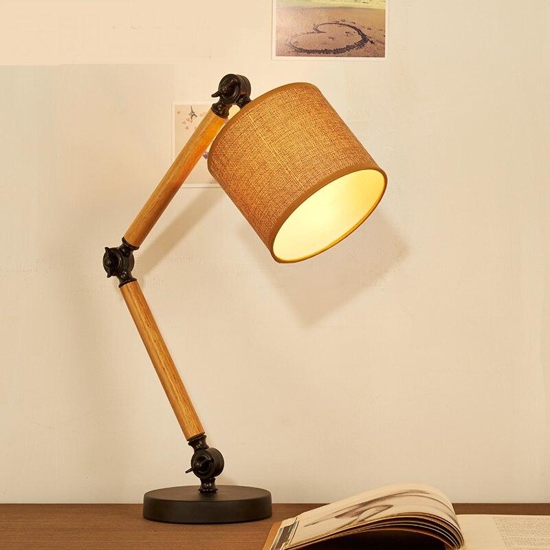 Лофт деревянный стол свет исследование лампы творческая личность чтения оригинальный американский Белье деревянный Спальня прикроватный ...