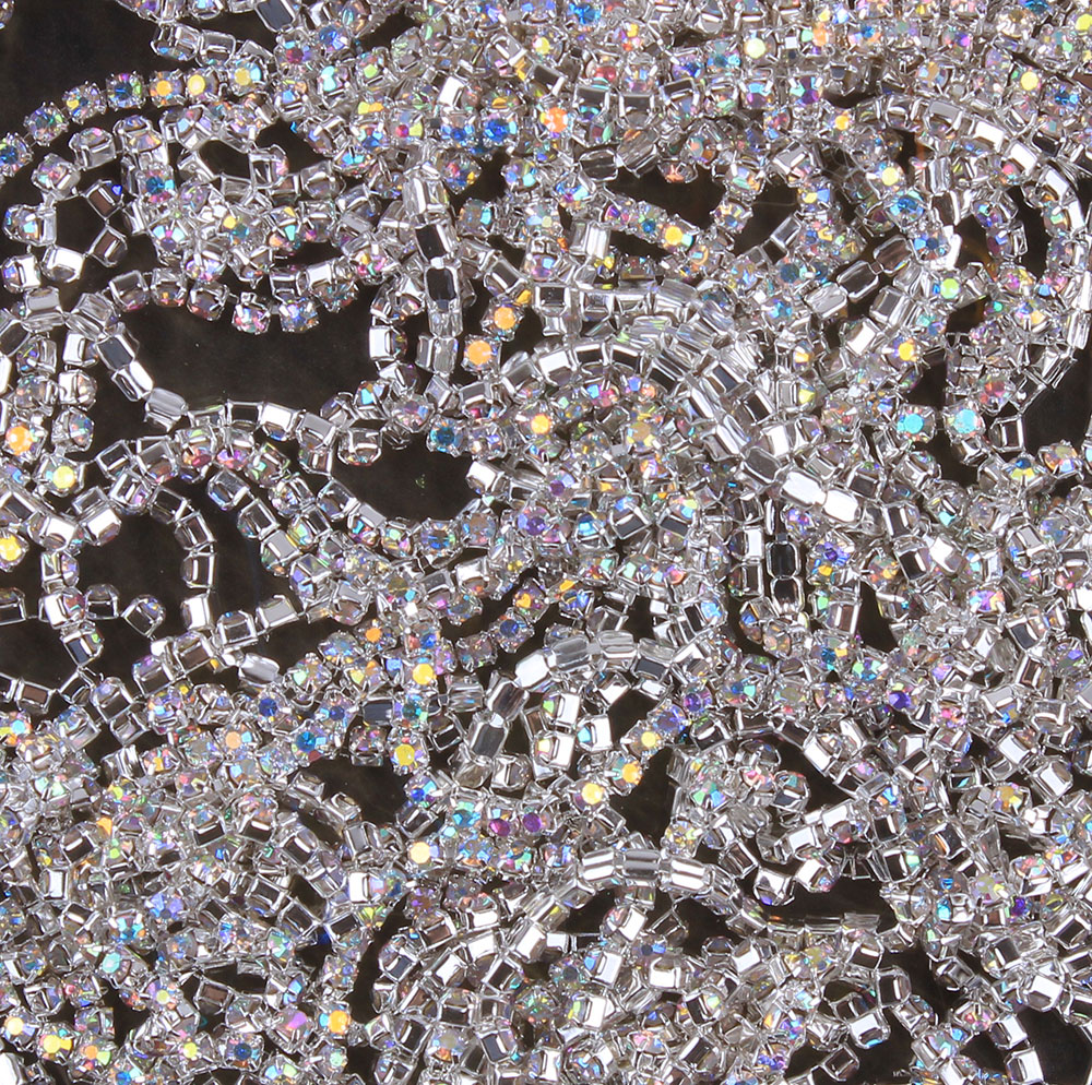 ZOTOONE SS10 AB White Rhinestones for Clothing Stones Clear Crystals Cup Chain Rhinestone Trim Sew on Ornament Accessories E