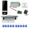C50 Prata completa 125 KHz sistema de controle de acesso + fechadura magnética eletrônica + alimentação + chave fobs + exit botão + controle remoto sem fio