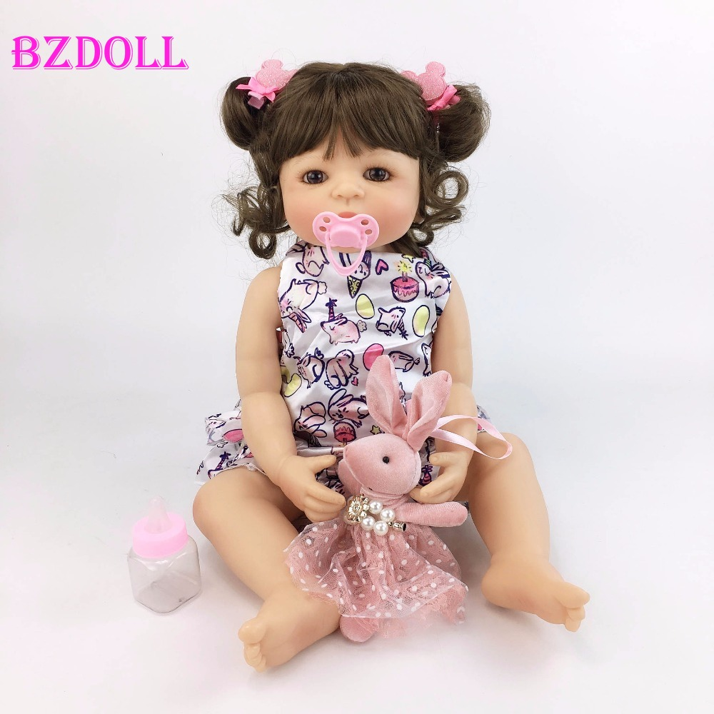 55cm Full Silicone Body Reborn Baby Doll Toy Like Real Girl Boneca Vinyl Newborn Babies Princess