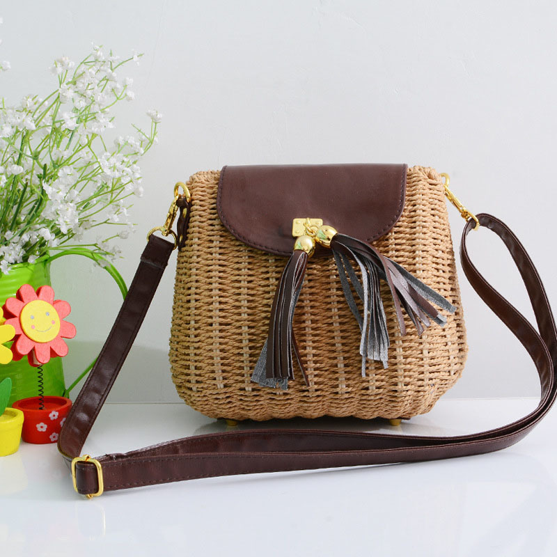 New Women Tassel Straw Bags Bohemian Female Vintage Rattan Knitted Handbag Summer Beach Lady Casual Weave Shoulder Bag SS3161 (2)