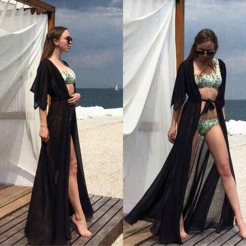 夏の女性の水着ビキニカバーアップセクシーなビーチカバーアップシフォンロング固体ビーチ水着チュニックカフタン