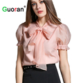 Sweety Pink Bow Tie Blouses For Women 2016 New Plus Size Ladies Puff Sleeve Chiffon Shirts Female Blusas Femininas For Work