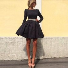 Elegante Little Black Cocktailkleider 2017 Langarm Mini Kurze Party Kleider Perlen Sash Mini Graduation Dresses