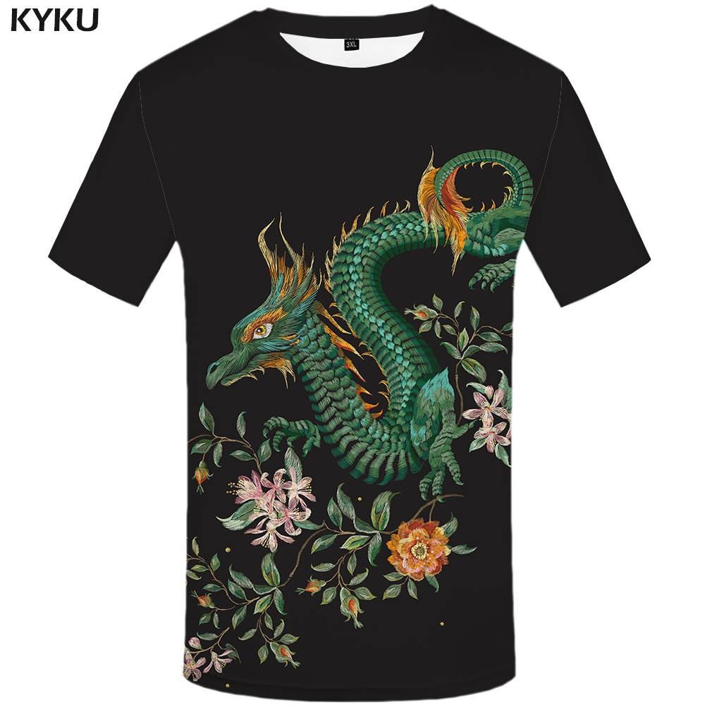 KYKU Brand Dragon T Shirt Flower T-shirt Black Tshirt Funny 3d T-shirt Animal 2017 Hip Hop Clothing China Summer Tee Homme Top