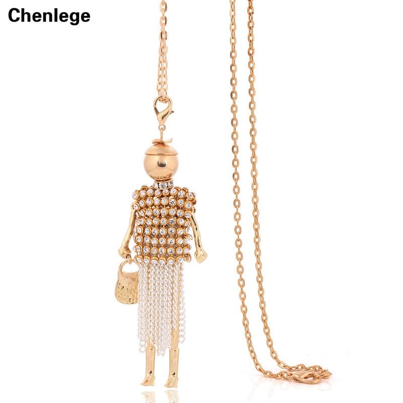 fashion tassel womens pendants necklaces crystal rhinestone female necklace doll french paris tassel long choker