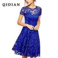 QI DIAN 6XL Plus Size Dress Fashion Women Elegant Sweet Hallow Out Lace Dress Sexy Party