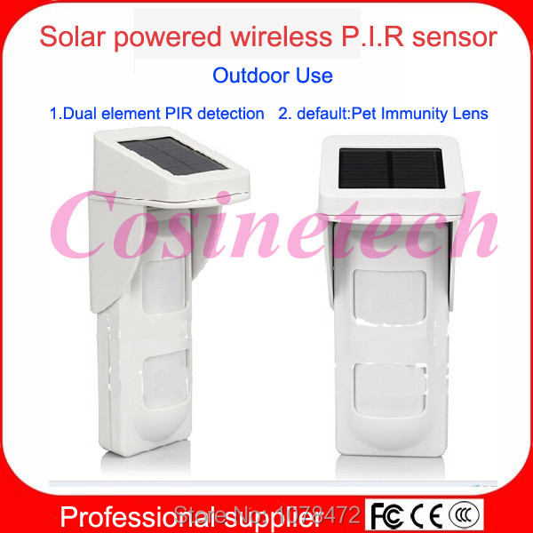 Wireless Solar Powered pet friendly PIR sensor,Outdoor pet-immune immunity infrared motion detector for home alarm systems G90B free shipping 90 degrees 40kg pet immune dual sensor pir passive infrared detector motion detection ir intruder burglar alarm