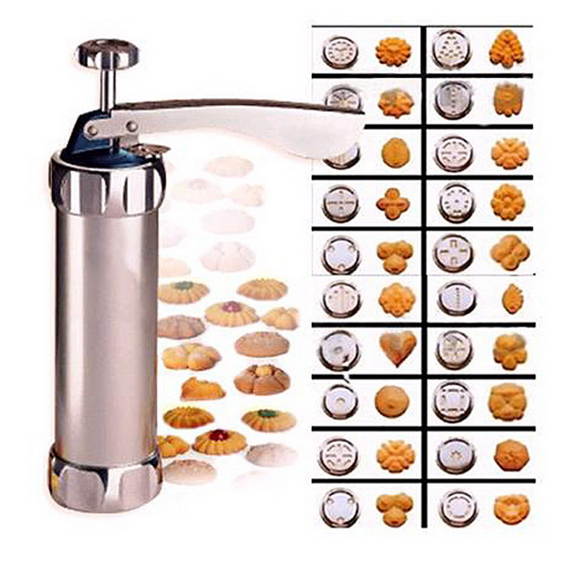 Cookies Press Cutter Baking Tools Cookie Biscuits Press Machine Kitchen Tool Bakeware With 20 Cookie Molds and 4 Nozzles