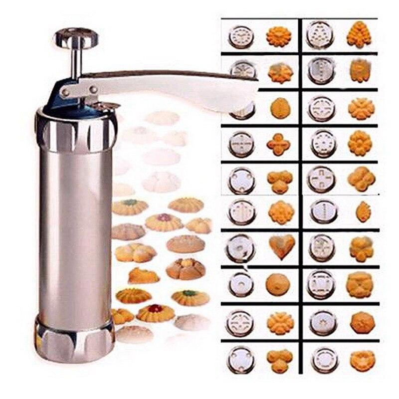Galletas prensa cortador hornear galletas máquina prensa cocina herramienta hornear utensilios con 20 moldes de galletas y 4 boquillas