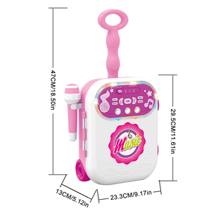 Image 5 - 어린이 음악 수하물 가방 가라오케 노래 기계 마이크 age3 + 소년 소녀 재미 있은 선물 장난감 악기