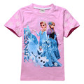 Girls Cartoon T-shirt 100% Basic Cotton T Shirts Girl Princess Short Sleeve Tops Children Sisters Summer Tee Drop Free Shipping