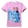 Meninas Dos Desenhos Animados T-shirt 100% Algodão Básico T Shirts Menina Princesa Manga Curta Tops Crianças Irmãs Verão Tee Gota Frete Grátis