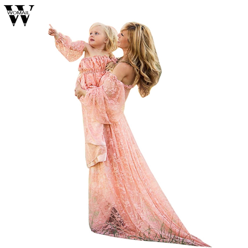 Womail Women Pregnants Sexy Photography Props full sleeve Dress Off Shoulders Lace Nursing Long Dress Gift Feb 6 Drop Ship