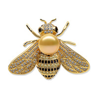 Micro And Delicate Bee Brooch Set Zircon Natural Pearl Jewelry Pin Clothing Accessories Manufacturers
