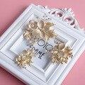 Мода Бабочка Свадебный Головной Убор Золотые Свадебные Цветочные Зажим Для Волос Гребень Аксессуары Кристалл Жемчужина