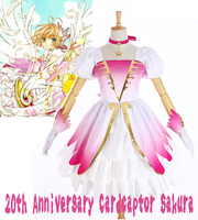 Anime Cardcaptor Sakura 20th Anniversary Pink Fading White Angel Lolita Dress Cosplay Costume Full Set Wings