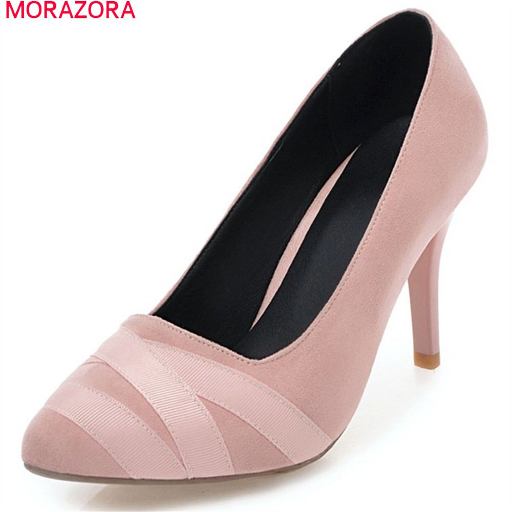 MORAZORA sexy ladies shoes spring summer pointed toe shallow slip on extreme high heels flock thin heel pumps women shoes fashion new spring summer med high heels good quality pointed toe women lady flock leather solid simple sexy casual pumps shoes