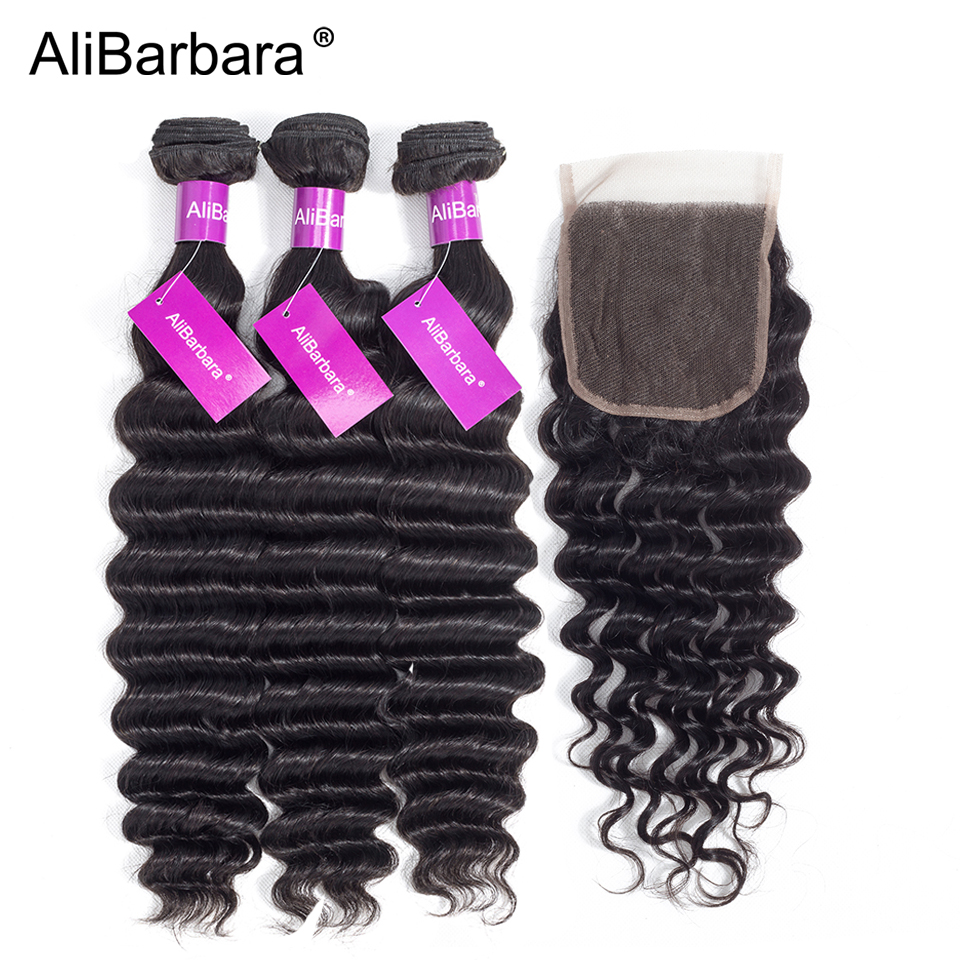 AliBarbara Hair Loose Deep Peruvian Human Hair Bundles with Closure Free part 4X4 Swiss Lace 1B Remy Human Hair Weave Extension
