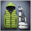 Men's Vest Winter Men Brand Hooded Vest Male Cotton-Padded Waistcoat Jacket and Coat Warm Vest 3XL 2XL Z