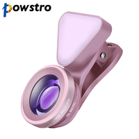 Powstro 3 In 1 Lens Fill Light 140 Degree Wide Angle 15X Macro Camera Clip On