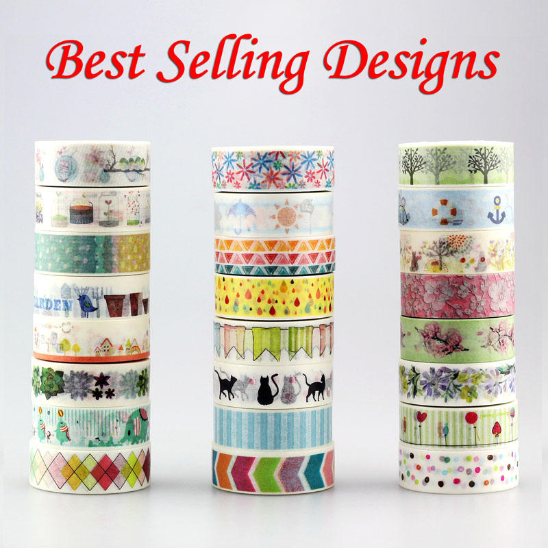 1x 10m Best Selling Designs(raindrop,elephant,cat,flower,flag)Decorative Washi Tape DIY Scrapbooking Masking Tape School Supply