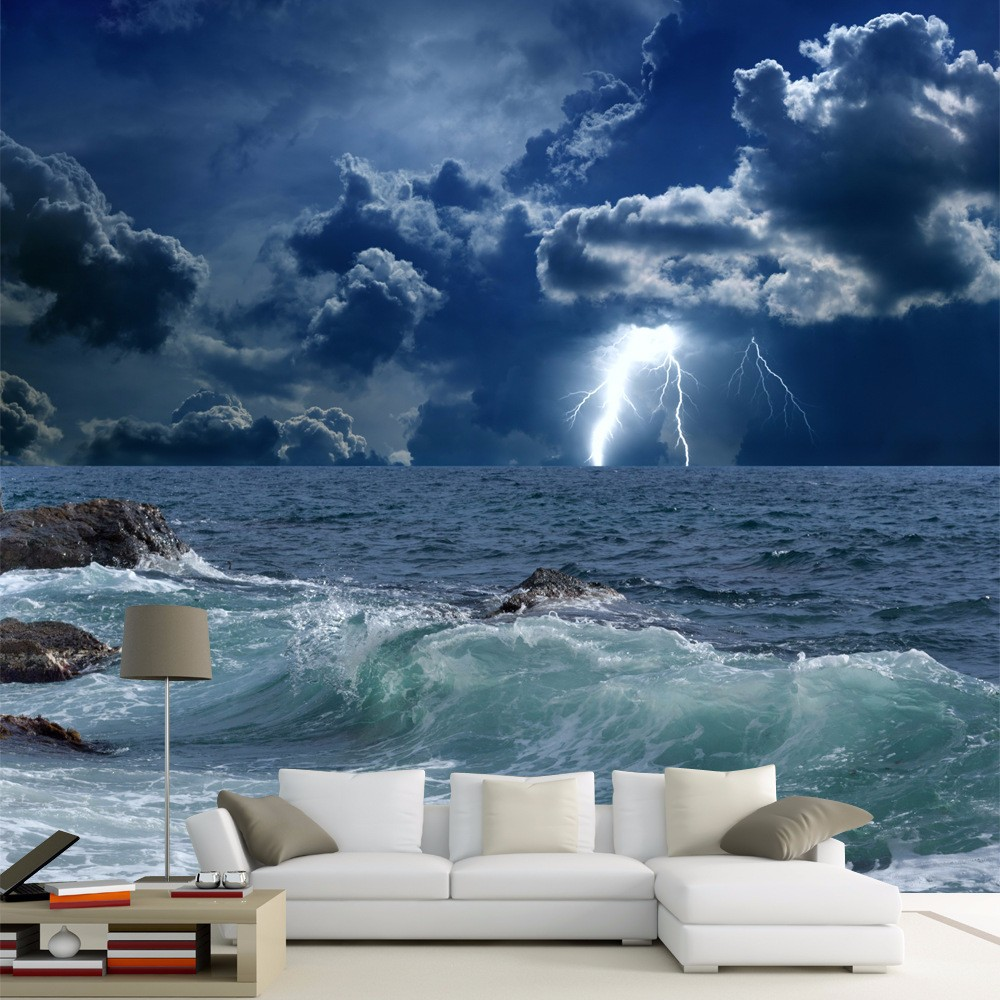 Custom Photo Wallpaper 3d Ocean Waves Lightning Dark Cloud