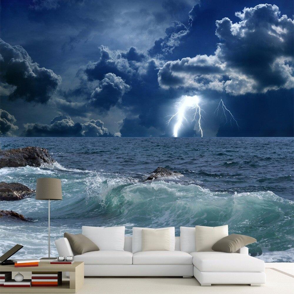 Large papel de parede decorative 3d wall panels murals wallpaper for - Custom Photo Wallpaper 3d Ocean Waves Lightning Dark Cloud Landscape Mural Wallpaper Living Room Bedroom Papel De Parede 3d