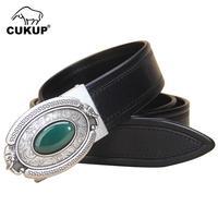CUKUP уникальный Дизайн Для мужчин Джейд декоративные, металлической пряжкой Ремни из воловьей кожи пояса для Для мужчин джинсы аксессуары