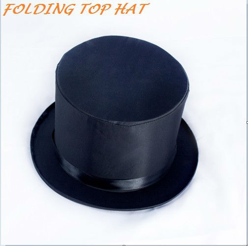 Folding Top Hat Magic Trick Costume Accessory Stage Prop Magician's Hat magic hat black one