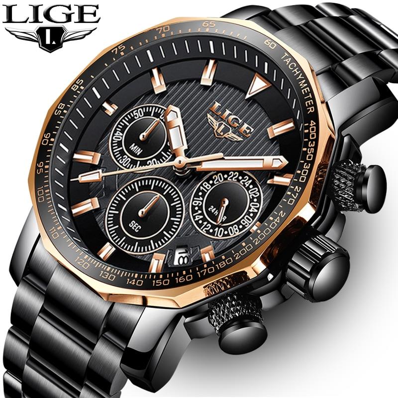 LIGE Mens Watches Top Brand Luxury Chronograph Full Steel Large Dial Quartz Watch Men Waterproof Sport