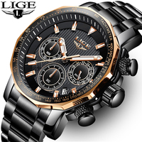LIGE Mens Watches Top Brand Luxury Chronograph Full Steel Large Dial Quartz Watch Men Waterproof Sport Watch Relogio Masculino