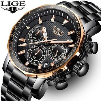 LIGE мужские s часы лучший бренд класса люкс Хронограф полный стальной большой циферблат Кварцевые часы мужские водонепроницаемые спортивны...