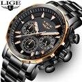 LIGE Herren Uhren Top Brand Luxus Chronograph Voller Stahl Große Zifferblatt Quarzuhr Männer Wasserdichte Sport Uhr Relogio Masculino