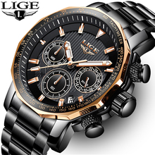 LIGE Mens Watches Top Brand Luxury Chronograph Full Steel La