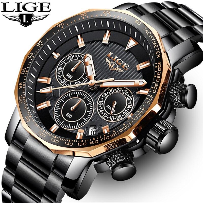 LIGE montres hommes Top marque de luxe chronographe en acier grand cadran montre à Quartz hommes étanche Sport montre Relogio Masculino
