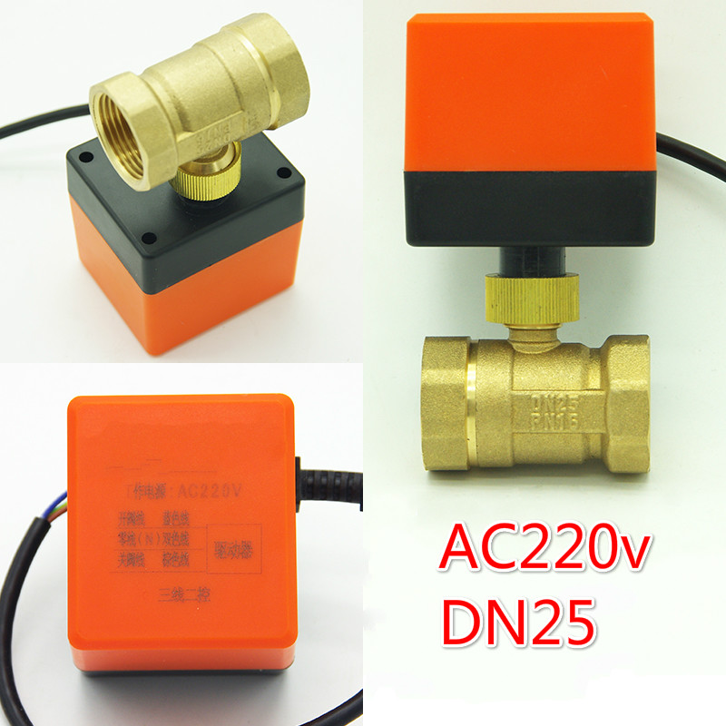 """Buy DN25 (G1.0"""") electric actuator valve AC220V Electric Ball Valve Brass Motorized Three wire two control electric Valve for $27.07 in AliExpress store"""