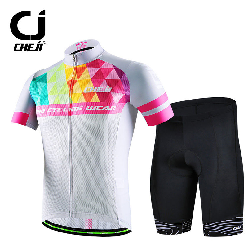 Geometric CHEJI Mens Cycling Jersey Set Bicycle Shirts & Cycle Bike Padded Shorts Short Sleeve Biking Set Reflective 2017 S-XXXL