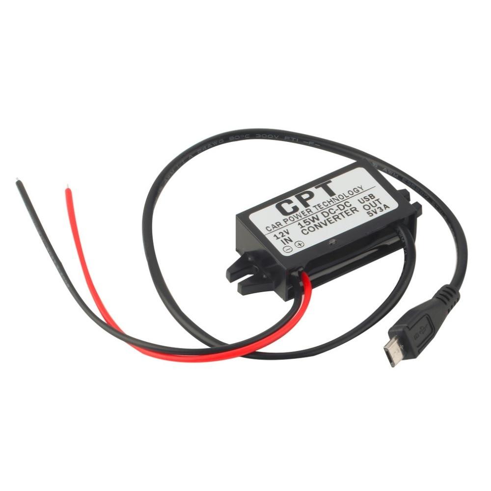 1pc Hoge kwaliteit Autolader DC Converter Module 12V naar 5V 3A 15W met Micro USB-kabel Nieuwste