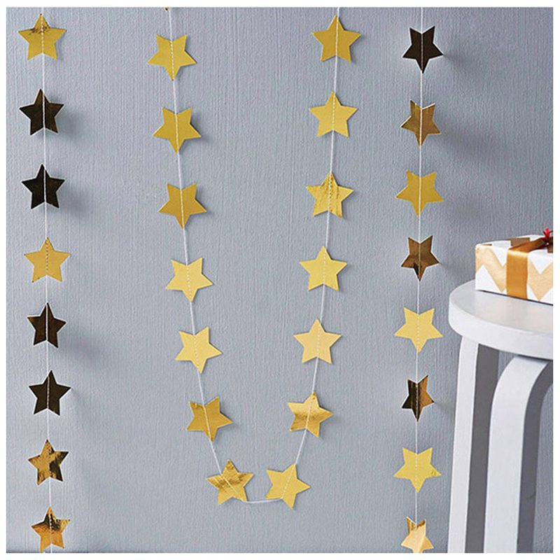 Star Paper Garland Banner Bunting Baby Shower Wedding Party Decoration Gold