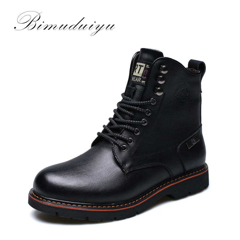 BIMUDUIYU Tactical Waterproof Winter  Boots Men Vintage Leather Motorcycle Ankle Martin Male Warm Snow Boots Leather Boots Men 2015 men fashion martin boots men pu leather winter ankle boots motorcycle winter men boots