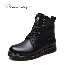 BIMUDUIYU Tactical Waterproof Winter Warm Snow Boots Men Vintage Leather Motorcycle Ankle Martin High Cut Male Casual Clearance