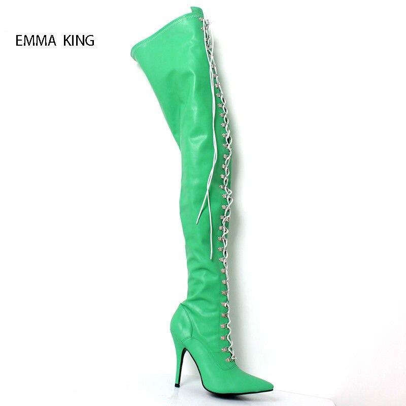 Longues Sexy Bout Femme Zapatos Talons De Haute Pointu Genou attaché Le Croix green Botas Green Sur army Printemps Black Chaussures Bottes Automne Mince Mujer wqTtwSa