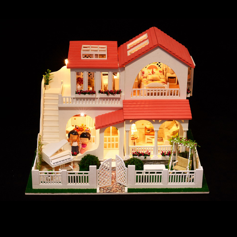 DIY Kid Doll House Toy miniatura en miniatura modelo Puzzle Wooden - Muñecas y peluches - foto 3