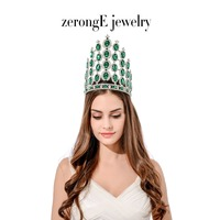 zerongE jewelry7.8inch World Pageant Tiara Crown green Austrian Rhinestone Hairband Wedding Bridal Party Costumes